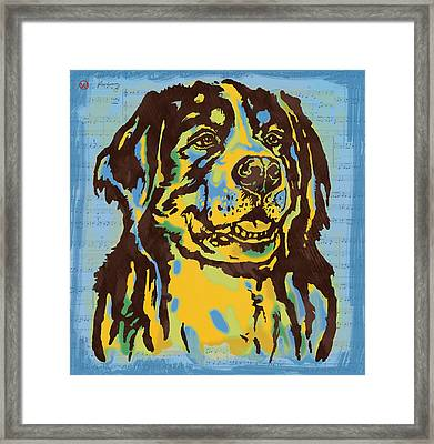 Animal Pop Art Etching Poster - Dog  15 Framed Print by Kim Wang