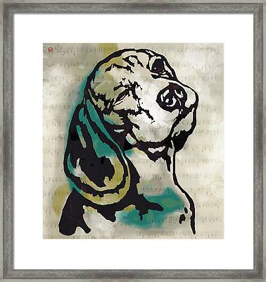 Animal Pop Art Etching Poster - Dog  16 Framed Print by Kim Wang