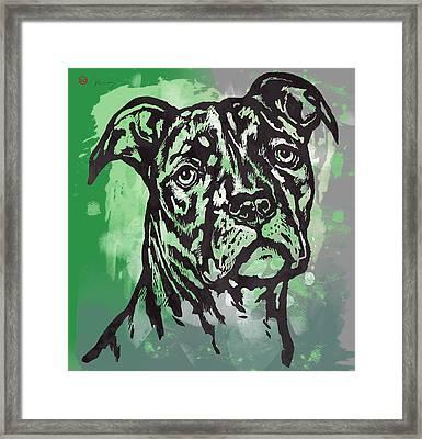 Animal Pop Art Etching Poster - Dog  17 Framed Print by Kim Wang