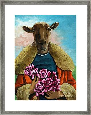 animal portrait - Flora Shepard Framed Print by Linda Apple