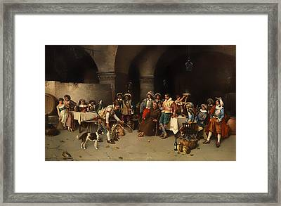 Animal Trainer With Monkeys And Dogs Framed Print