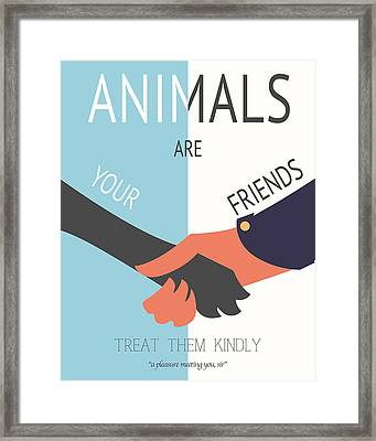 Animals Are Your Friends Framed Print by Finlay McNevin