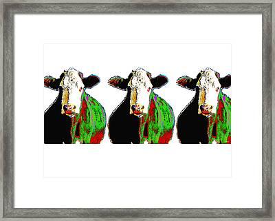 Animals Cows Three Pop Art Cows Warhol Style Framed Print by Ann Powell
