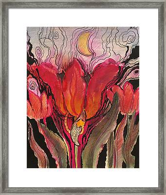 Animals In The Tulip Framed Print