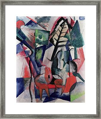 Animals Under Trees Framed Print by Franz Marc