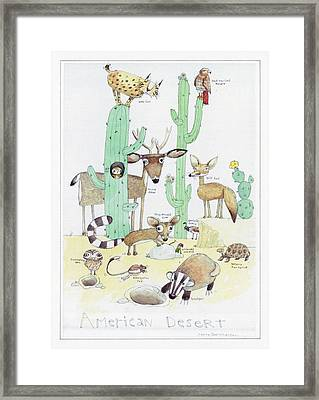 Animals With Cacti In Desert - F Framed Print by Gillham Studios