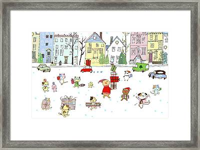 Animals With Gifts In City Framed Print