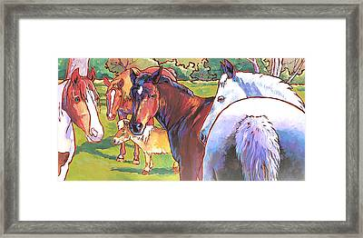 Framed Print featuring the painting Anjelica Huston's Horses by Nadi Spencer