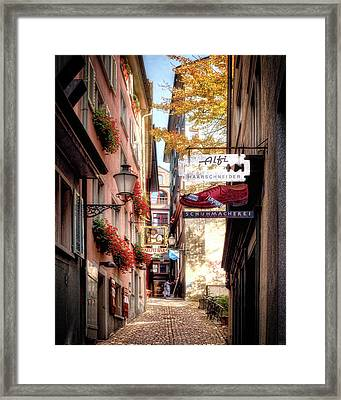 Framed Print featuring the photograph Ankengasse Street Zurich by Jim Hill
