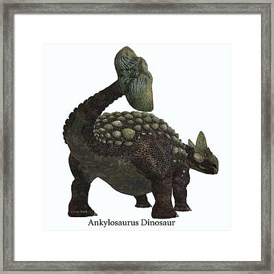 Ankylosaurus Dinosaur Tail With Font Framed Print