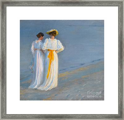 Anna Ancher And Marie Kroyer On The Beach At Skagen Framed Print