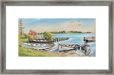 Annadown Pier Framed Print by Vanda Luddy