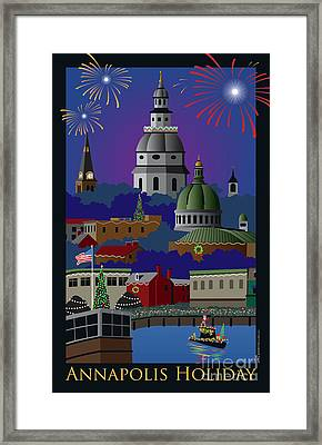 Annapolis Holiday With Title Framed Print