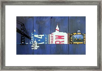 Annapolis Maryland Skyline Vintage License Plate Art Framed Print