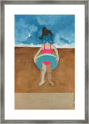 Annatte At The Beach With Bandaids Framed Print by Ricky Sencion