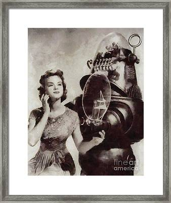 Anne Francis And Robby The Robot From Forbidden Planet Framed Print by Sarah Kirk