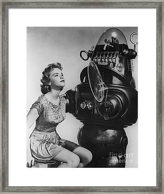 Anne Francis Movie Sexy Photo Forbidden Planet With Robby The Robot Framed Print by R Muirhead Art