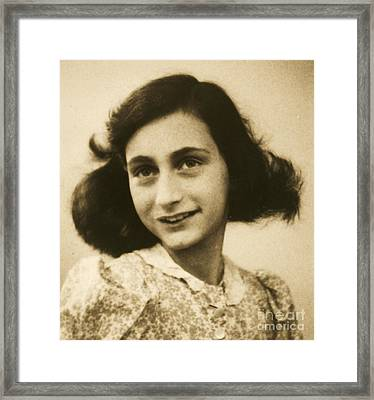 Anne Frank Framed Print by Roberto Prusso