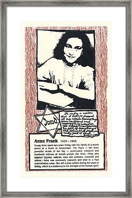 Anne Frank Framed Print by Ricardo Levins Morales
