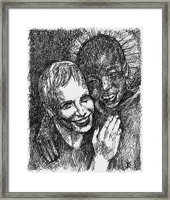 Annie And Boy Framed Print by KM Paintings