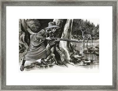 Annie Oakley Shooting A Buck Framed Print