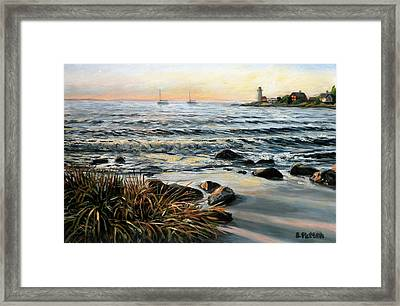 Annisquam Beach And Lighthouse Framed Print