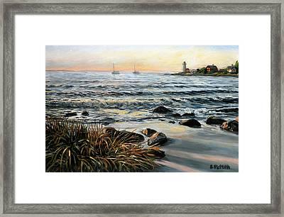 Annisquam Beach And Lighthouse Framed Print