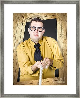 Annoying Sales Man Roping In Customers Framed Print by Jorgo Photography - Wall Art Gallery