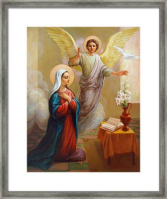 Framed Print featuring the painting Annunciation To The Blessed Virgin Mary by Svitozar Nenyuk