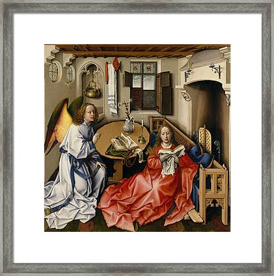 Annunciation Triptych, Merode Altarpiece, Central Panel Framed Print by Robert Campin