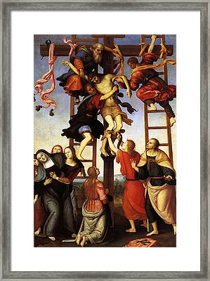 Annunziata Polyptych, Deposition From The Cross Framed Print by Pietro Perugino