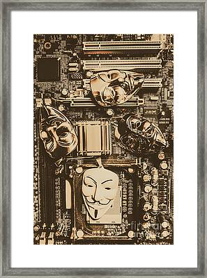 Anonymous Cyber Masks Framed Print
