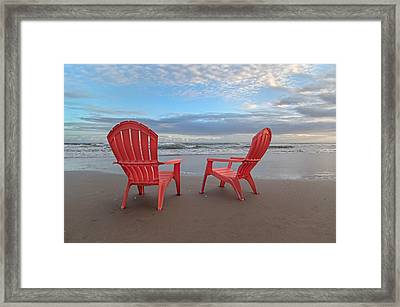Another Busy Beach Day Framed Print by Betsy Knapp