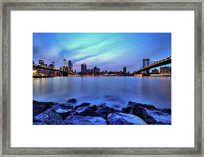 Another Day Comes To A Close In Nyc Framed Print by Daniel Portalatin