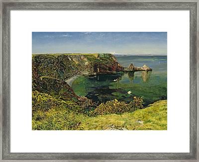 Anstey's Cove In Devon Framed Print by John William Inchbold