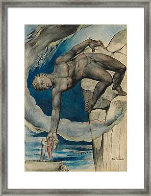 Antaeus Setting Down Dante And Virgil In The Last Circle Of Hell Framed Print by William Blake