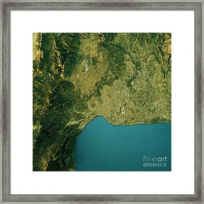 Antalya Topographic Map Natural Color Top View Framed Print by Frank Ramspott