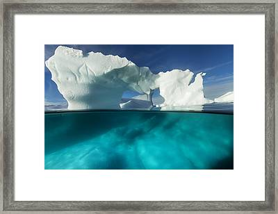 Antarctica, Underwater View Of Arched Framed Print by Paul Souders