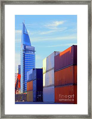Antel Communications Tower Seen From The Port Of Montevideo Framed Print