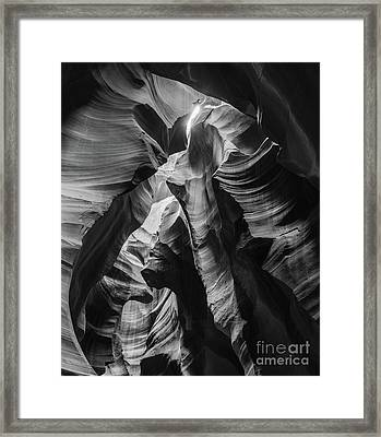 Antelope Canyon In Bw Framed Print by Jim Chamberlain