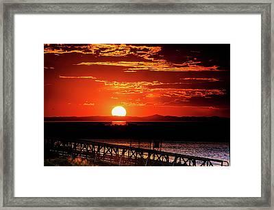 Antelope Island Marina Sunset Framed Print