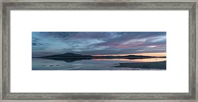 Antelope Island Panoramic Sunset Framed Print by Justin Johnson