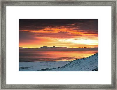 Antelope Island Sunset Framed Print