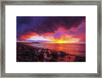 Antelope Island Sunset Framed Print