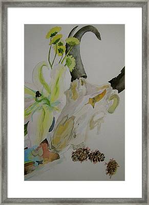 Framed Print featuring the painting Antelope Skull Pinecones And Lily by Beverley Harper Tinsley