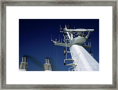 Antennas And Chimneys On A Large Ferry Framed Print by Sami Sarkis
