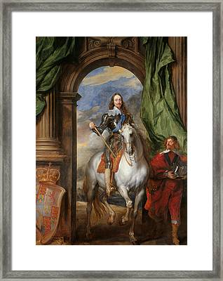 Anthony Van Dyck - Charles I With M. De St Antoine Framed Print by Anthony van Dyck