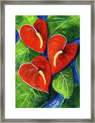 Anthurium Flowers #272 Framed Print by Donald k Hall