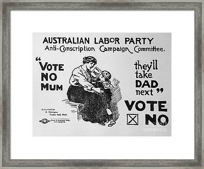 Anti Conscription Poster Framed Print by Pd