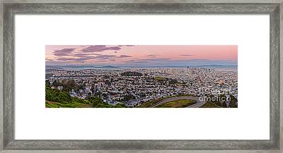 Anti-crepuscule Panorama Of San Francisco From Twin Peaks Scenic Overlook - California Framed Print by Silvio Ligutti